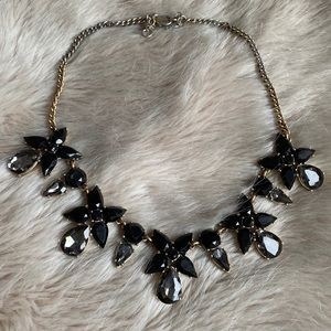 J. Crew Black & Grey Crystal Statement Necklace